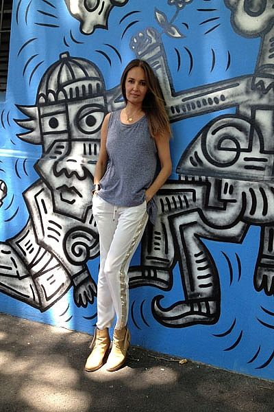 """""""Hangin' in Surry Hills on this beautiful sun dappled day! Wearing WORK OUT LIFE grey marle oversized tank, Little Joe Woman silk pants with gold sequin stripe, Ella Po and Carolina Barbieri gold & diamond necklaces, House of Harlow gold & leather cuff and Acne Pistol boots."""""""