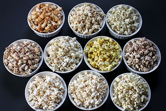 10 Healthy Microwave Popcorn Recipes by theyummylife: Sweet and savory flavors; 100 calories. #Popcorn #Healthy #theyummylife