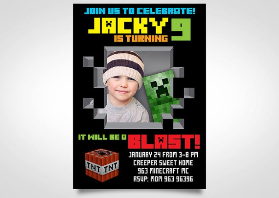 14 best Minecraft Invitations images on Pinterest Birthdays - mine craft invitation template