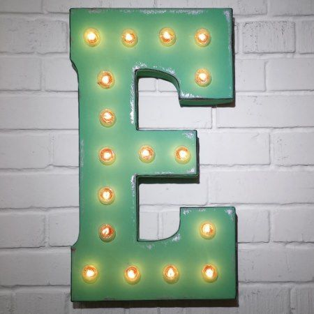 Custom 21' Mint Green Letter 'E' Vintage Marquee S - click/tap to personalize and buy