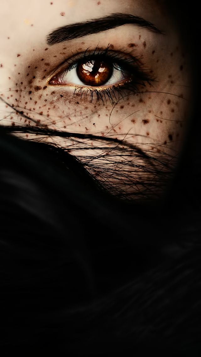 Misterious Woman Brown Eye Closeup iPhone 5 Wallpaper