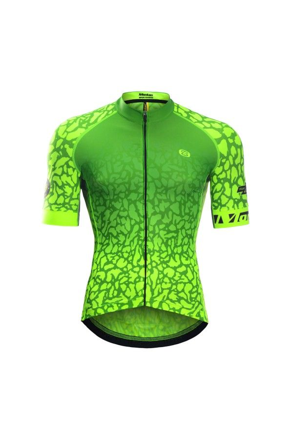 FLUORESCENT CYCLING JERSEY CHEETAH YELLOW