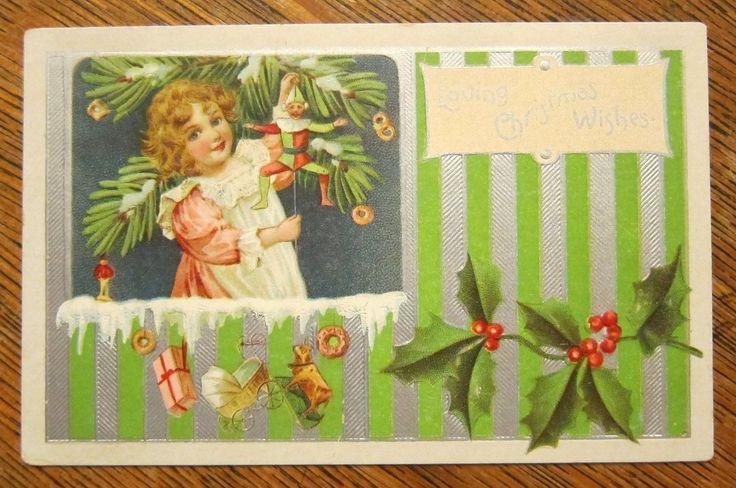 Pretty Girl Holds Mechanical Toy Jester Antique Vintage Postcard | eBay