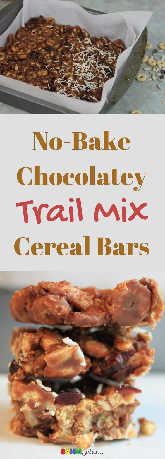 No bake chocolatey trail mix cereal bars. Made with gluten free O's cereal. And, no honey, so it's perfect for your toddler to enjoy. Gluten free dairy free trail mix cereal bars are a perfect after school treat. via www.sahmplus.com