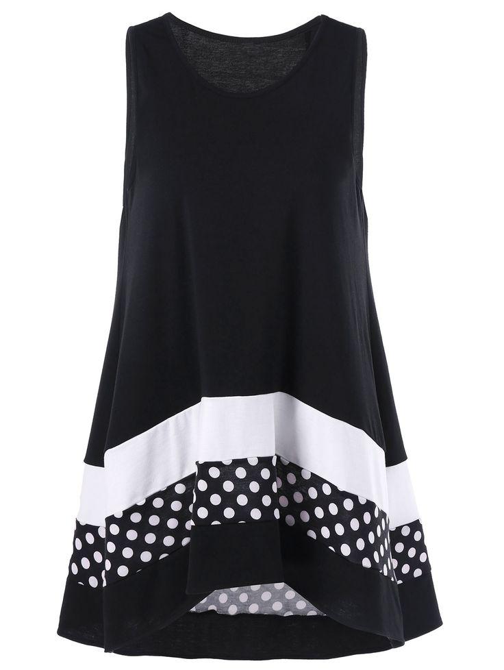Plus Size Polka Dot Sleeveless Tunic Top