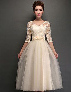 thuiskomst thee-length tule bruidsmeisje jurk - een champagne-lijn v-hals