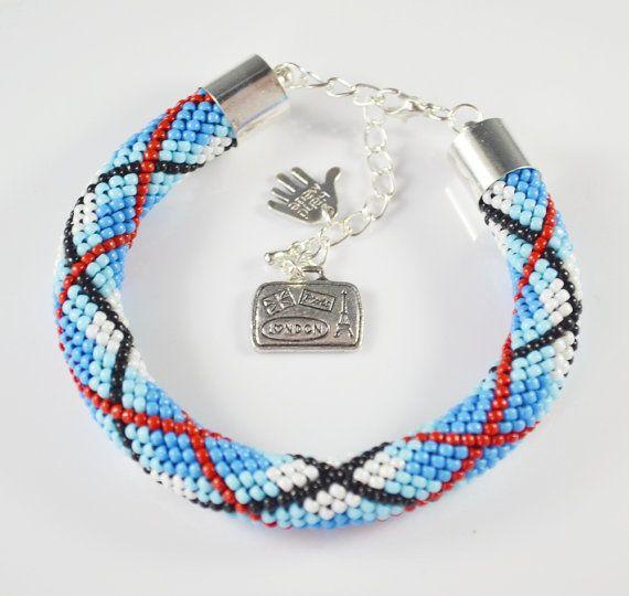 Bead crochet rope Bracelet  Beaded Bracelet  gift by SzkatulkaAmi