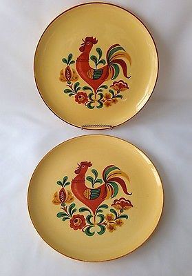 """2 Taylor Smith & Taylor Reveille Dinner Plates Rooster Pattern 10"""" Vintage 60s"""