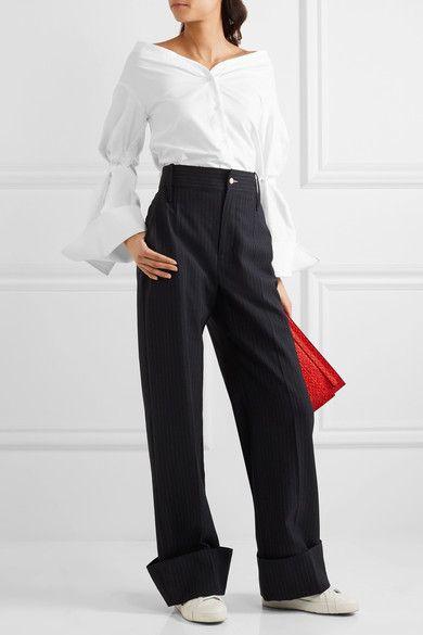 Jacquemus - Off-the-shoulder Cotton-piqué Shirt - Off-white - FR34