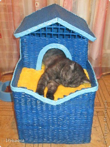Поделка изделие День рождения Рождество Плетение Дом для кота и не только Бумага газетная фото 3