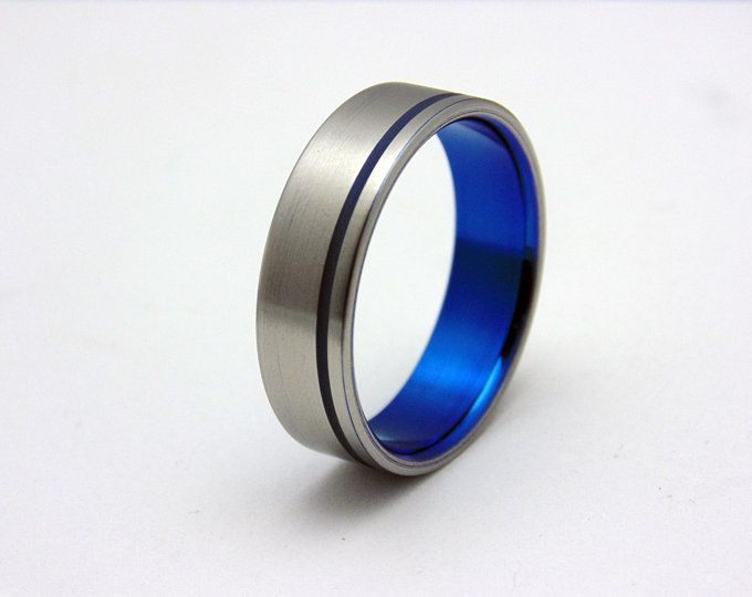 His And Hers Cobalt Blue Anodized Wedding Band Set Cobalt Blue Weddings Wedding Band Sets Blue Wedding Band