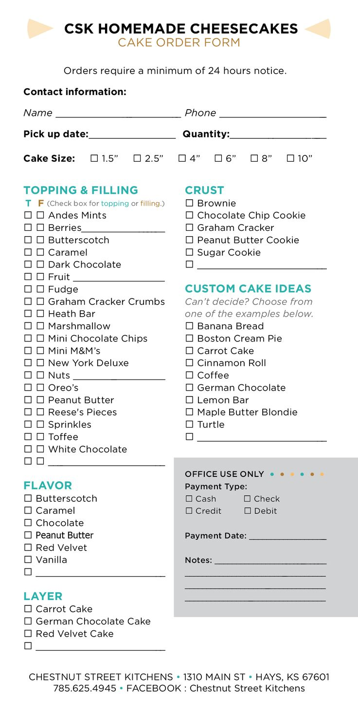 Chestnut Street Kitchens cheesecake order form and prices.  (Prices subject to change, custom prices vary.)  https://www.facebook.com/ChestnutStreetKitchens