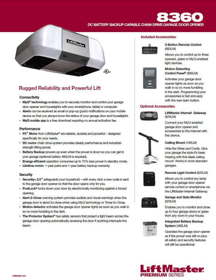 liftmasterpro 8360 DC Battery Backup Capable Chain Drive