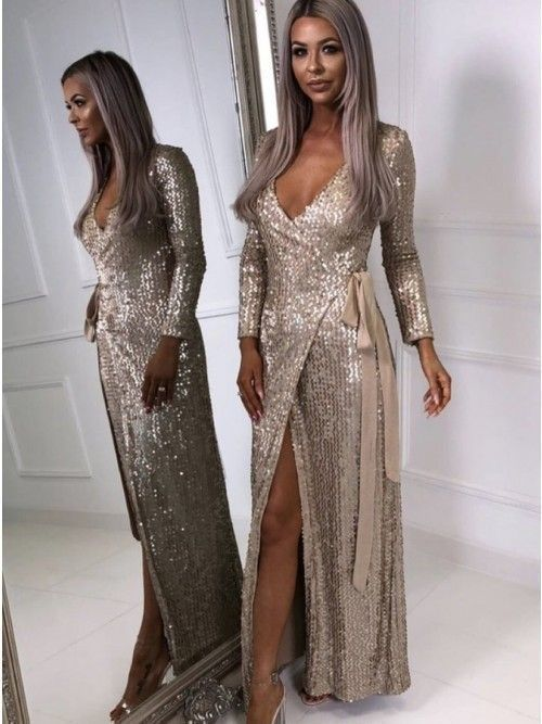 82bdac24f1 Long Sleeves V Neck Sequin Prom Dress with Slit | Dresses | Prom ...