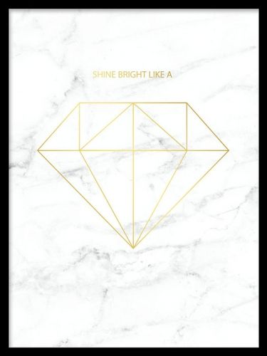 Diamond Gold marble, poster. Tavla med guld och marmor.  Snygg och lyxig tavla med diamant i guld på vit marmor. Denna tavla passar fint till det trendiga och stilrena hemmet och matchas med fördel till fler marmordetaljer eller gulddetaljer. Det är bara att flärda loss!