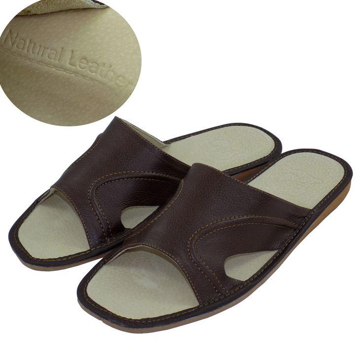 Men's Leather Slippers Shoes Sandals Flip Flops Brown Size 12 (EUR 46)
