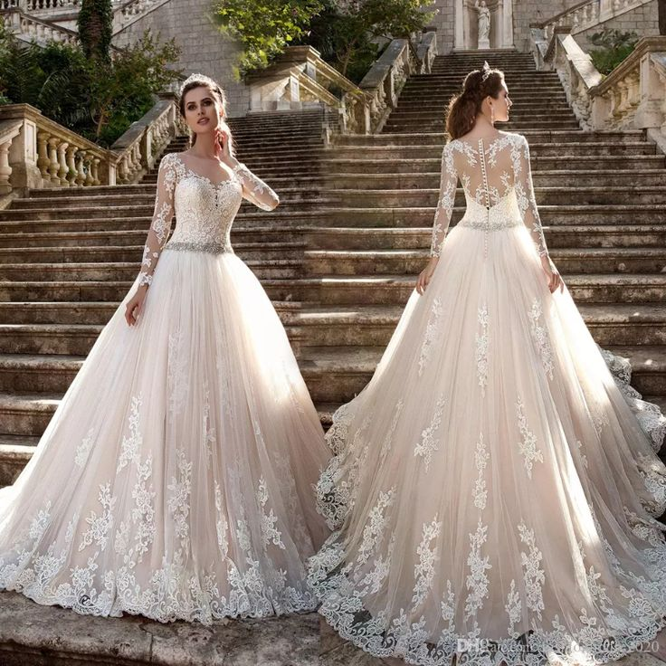 Роскошные шампанское Плюс Размер Кружева Свадебные платья с длинным рукавом Чистые иллюзии Кружева назад Свадебные платья Принцесса Невеста Платья Vestidos de novia
