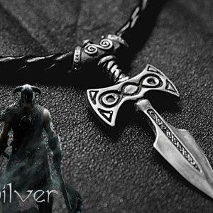 Sterling Silver Amulet of Talos Handmade Elder Scrolls Inspired Skyrim Necklace Item Novelty Fashion Wear Jewelry Pendant, Christmas SALE