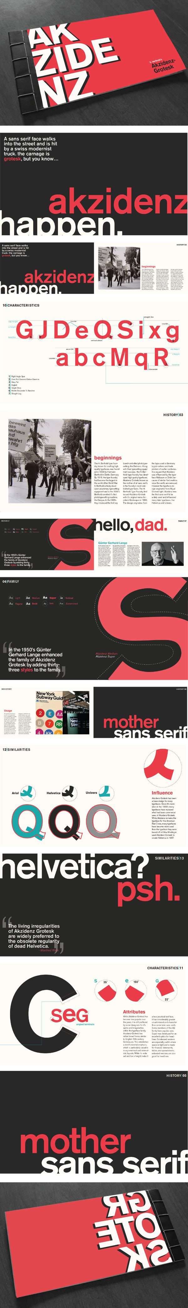 Akzidenz-Grotesk Typeface History Book by Kendra Hacker, via Behance