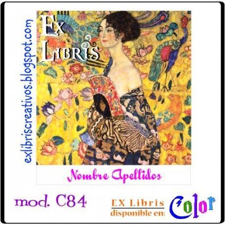 """#EXlibrisColor #Klimt Mujer con Abanico Referencia C84  Las mujeres llegaron a inventar todo un """"lenguaje del abanico"""" y según la posición se estaba transmitiendo un tipo de mensaje u otro. #EXLibris Creativos Color es la manera más original y divertida de personalizar tus #libros y #comics!!  ¡¡Visita nuestra web http://exlibriscreativos.es y déjate sorprender!! #ComparteCultura #RegalaEXlibris #RegaloPersonalizado #bookplates #Stamp #DiseñoGrafico #GraphicDesign #books #Leer #Lectura…"""
