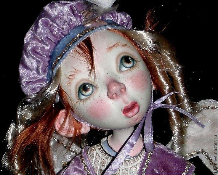 """Купить Кукла """"Плюшевый Ангел"""" - бледно-сиреневый, ангел, ребенок, рыжий, голубь, лилия, крылья"""