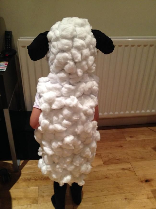 The Back Of A Cotton Wool Homemade Sheep Costume