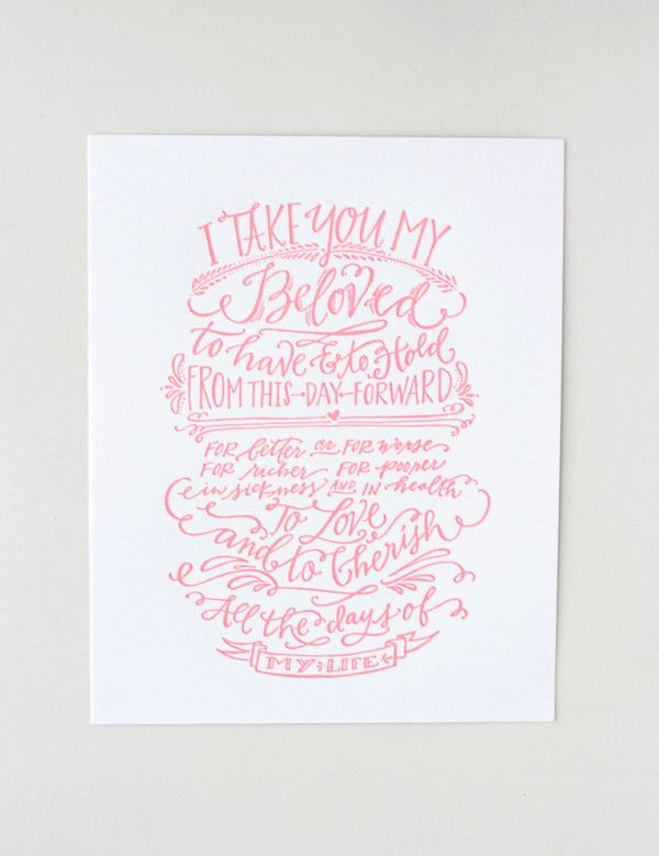 Beautiful Print Celebrating The Age Old Vows This Perfect Pink Is So Traditional Wedding