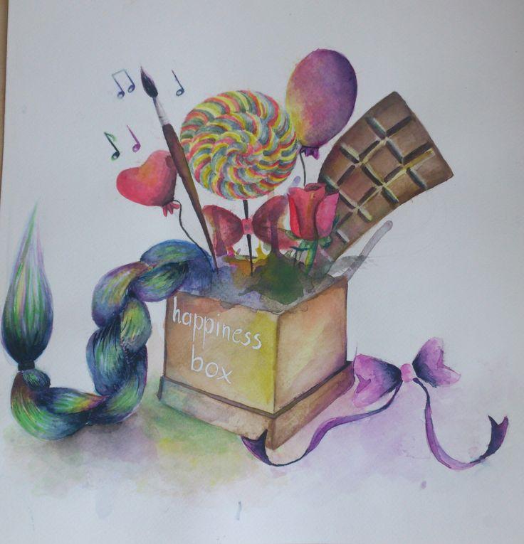 Happiness box akvarell