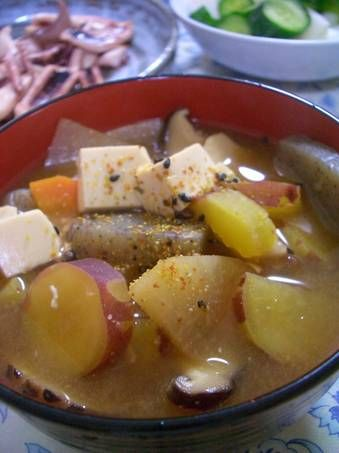 Filling Soup with Miso, Pork, and Sweet Potatoes