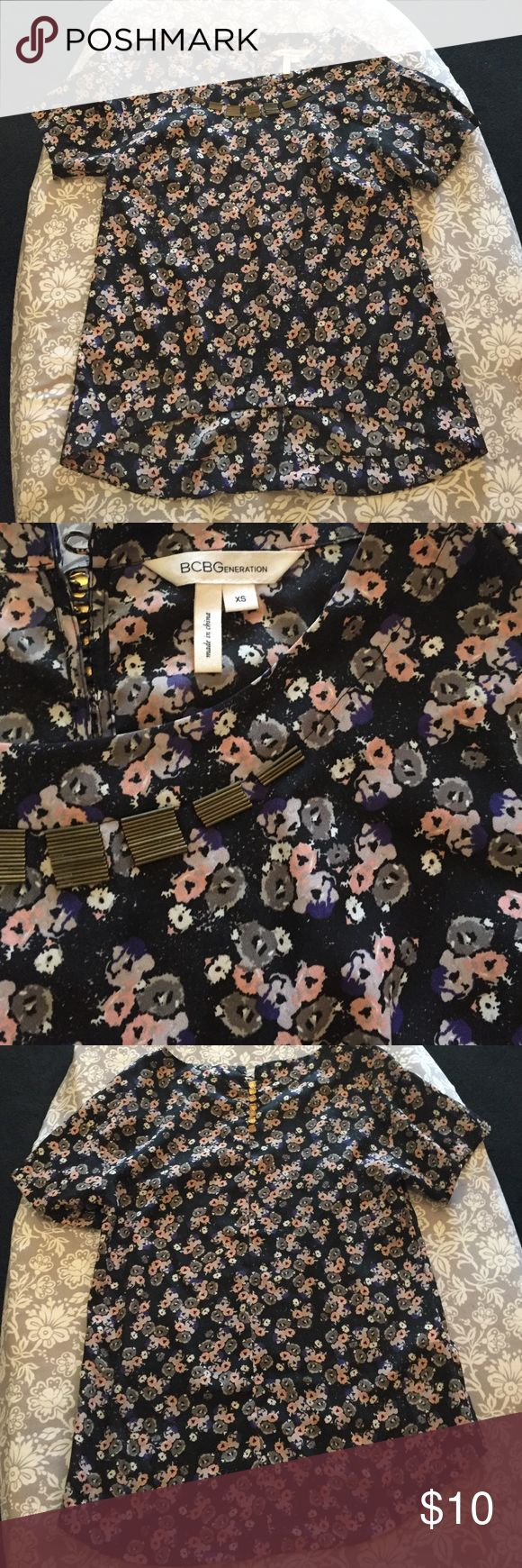 BCBGeneration floral top 🌸 GUC BCBGeneration floral slight high low top with embellished collar and button top back, missing one button on the back, not noticeable while wearing! 🌸 BCBGeneration Tops Blouses