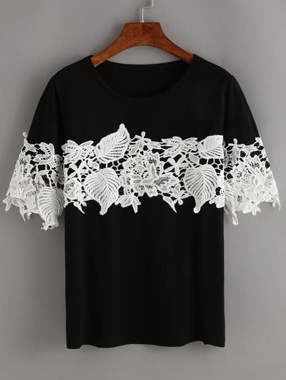 Shop Black Contrast Lace T-Shirt online. SheIn offers Black Contrast Lace T-Shirt & more to fit your fashionable needs.