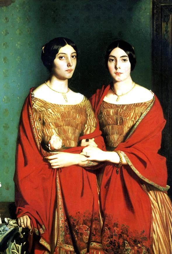 ШАССЕРИО ТЕОДОР Две сестры, 1843 Сент-Барб-де-Самана (Доминиканская Республика), 1819 — Париж, 1856 Холст, 180 х 135 см. Экспонировалась в Салоне 1843 г.; передана в Лувр в 1918 г.