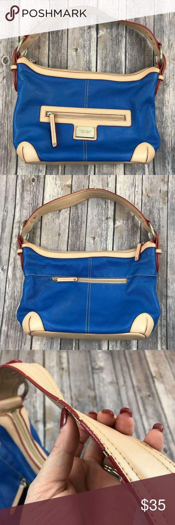 Tignanello Handbag Purse Buttery Soft Blue Leather Tignanello Handbag Purse Buttery Soft Blue Leather  Great used condition! See photos for measurements. Always open to reasonable offers! Tignanello Bags Shoulder Bags