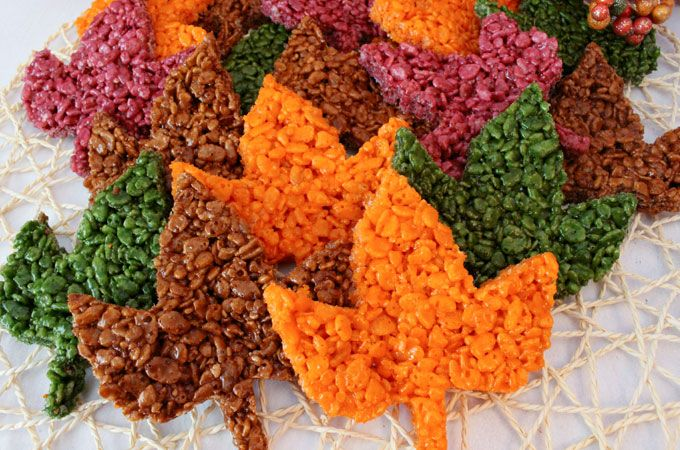 These beautiful Fall Leaves Rice Krispie Treats are delicious, easy to make and perfect for a Thanksgiving Treat or an Autumn potluck dessert. Who wouldn't want a colorful Rice Krispie Treat Maple Leaf as a Thanksgiving Dessert? Follow us for more great Thanksgiving Food Ideas.