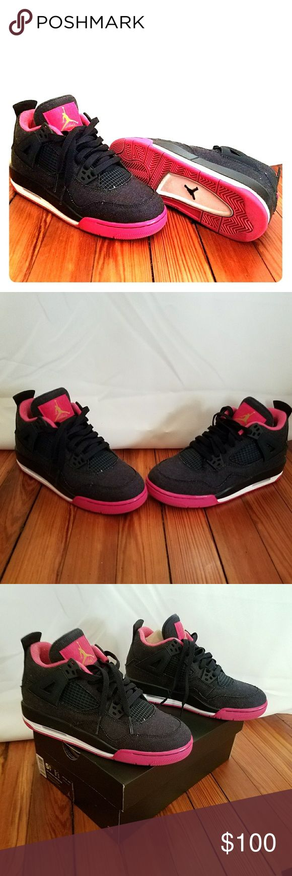 Nike Air Jordan Retro 4 Nike Air Jordan Retro 4. Denim and Pink. Worn only 1 time. Comes with original box. Nike Shoes Sneakers
