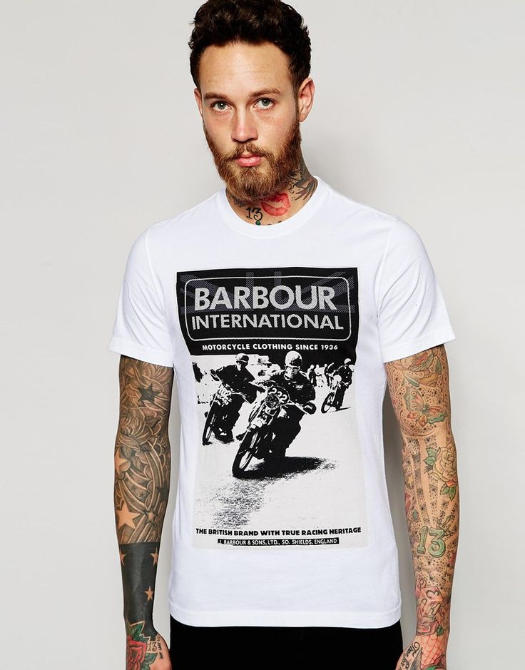 Image 1 of Barbour T-Shirt with Racing Print In Slim Fit