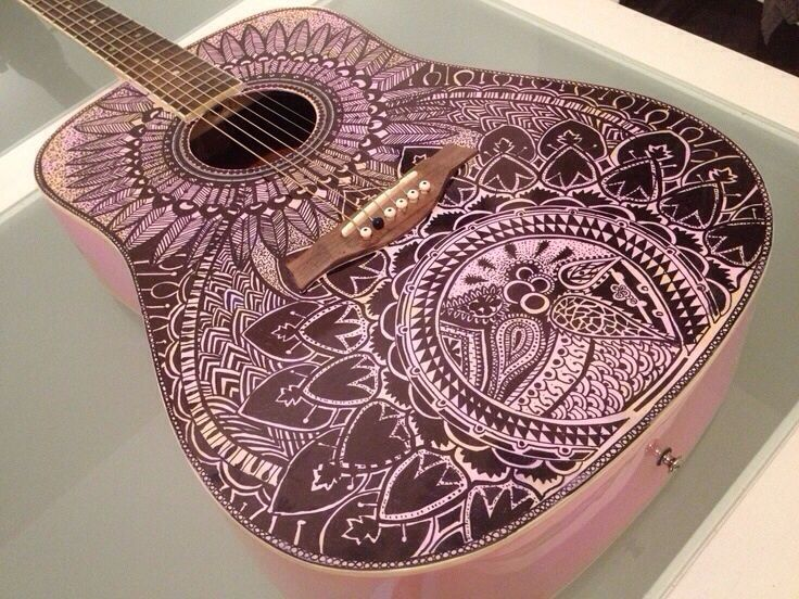Pretty pink Guitar mandala