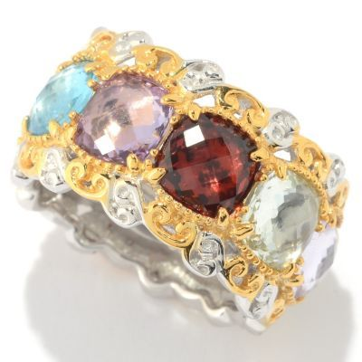 Gems en Vogue 6mm Checkerboard Cut Gemstone Eternity Band Ring
