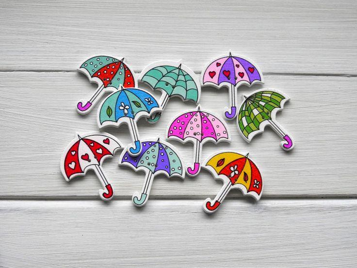 Wooden Button Colourful Umbrella 6 pcs by TextileBird on Etsy