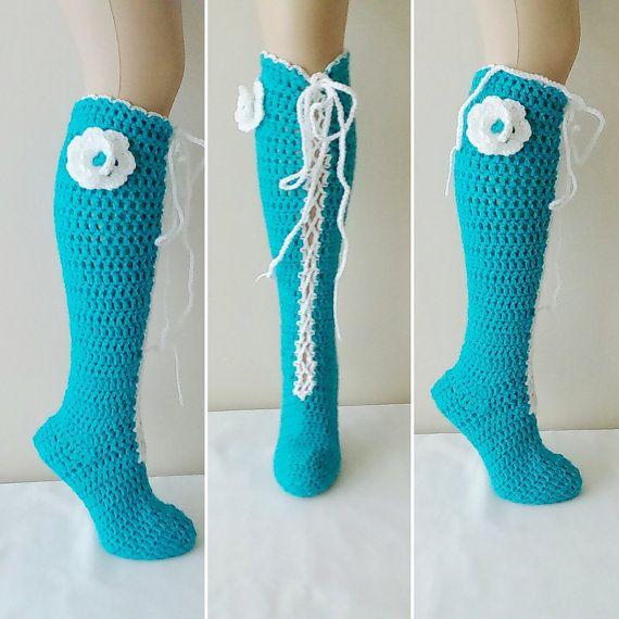 Turquoise Crochet knee socks. Flowering socks  House #Booties #Homeslippers  #yoga #socks #shoes #babet #Slippers #balletflats #pilates #yogasocks #socks #womensocks