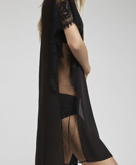 Short sleeve lace dressing gown - 5