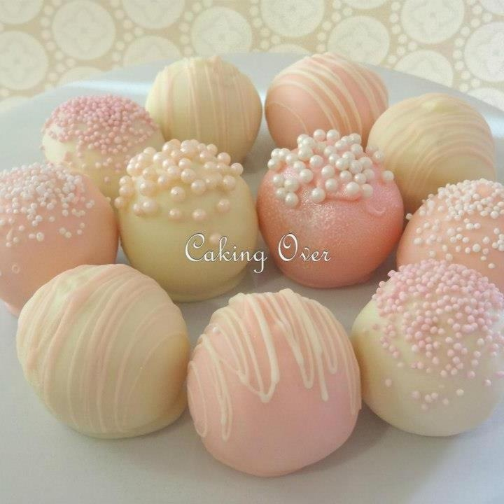 Pink and white Cake pops                                                                                                                                                                                 More
