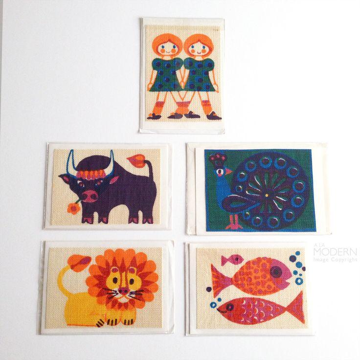 Set of 5 Vintage Sodahl Designs Denmark Colorful Handprinted Fabric Cards