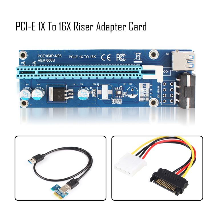 60CM USB3.0 PCI-E Express 1x to 16x Extender Riser Card Adapter SATA 4Pin Power Cable