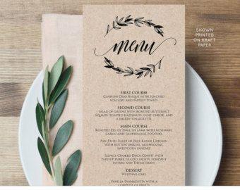 Menu Card Template Wedding Dinner Menu Printable Rustic