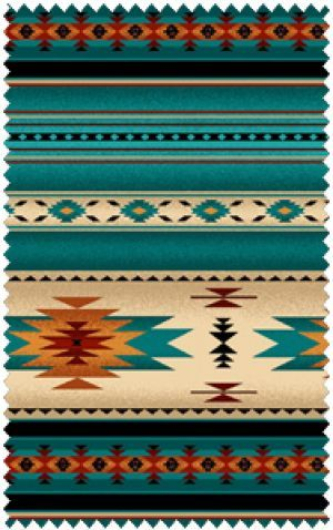 Native Saddle Blanket - Turquoise Flannel Fabric