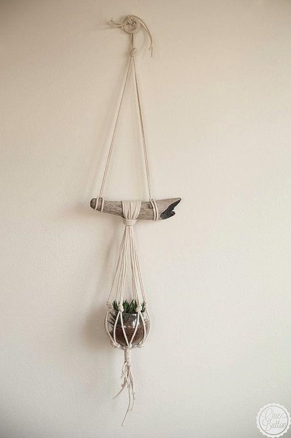 Drift wood macrame plant hanger