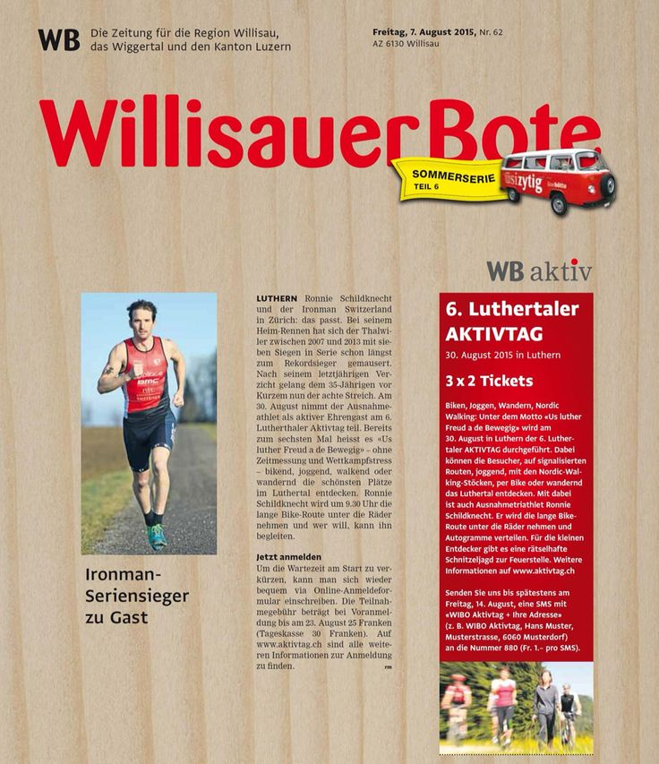 6. Luthertaler AKTIVTAG am 30. August 2015: Us luther Freud a de Bewegig bike, jogge, walke oder wandere in Luthere - www.aktivtag.ch