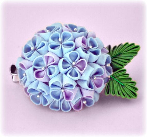 Sweet Hydrangea Japanese Kanzashi Flower Hair Clip by sakuradancer, $32.99