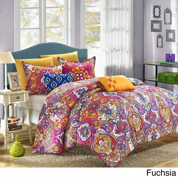 Give your room a makeover with this colorful and exotic Bombay inspired comforter set. This reversible set gives you two patterns for the price of one, so you can give your room a fresh, new look whenever you want.